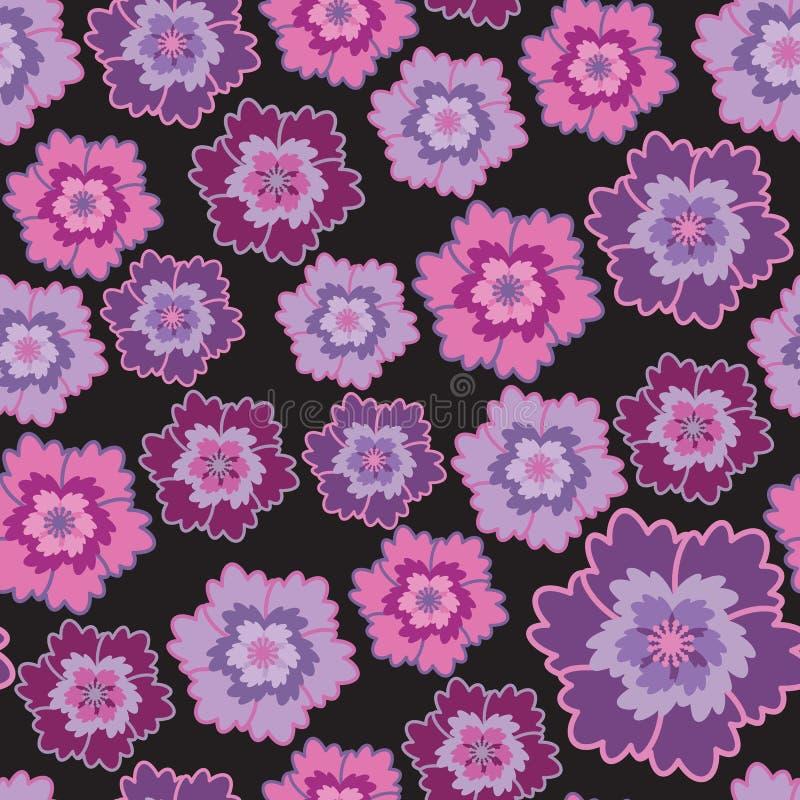 ιώδης ρόδινος άνευ ραφής λουλουδιών απεικόνιση αποθεμάτων