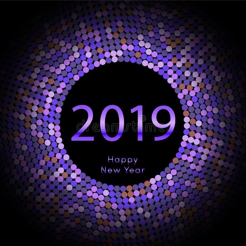 Ιώδης χαιρετώντας αφίσα έτους 2019 discoball νέα Δίσκος κύκλων καλής χρονιάς με το μόριο Ακτινοβολήστε γκρίζο σχέδιο σημείων διανυσματική απεικόνιση