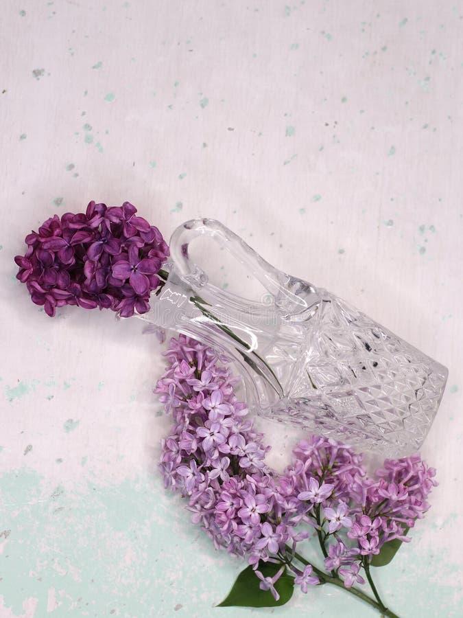 Ιώδη λουλούδια σε ένα βάζο κρυστάλλου στοκ εικόνες με δικαίωμα ελεύθερης χρήσης