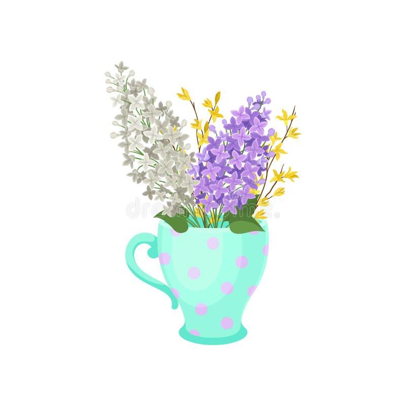 Ιώδη λουλούδια σε μια κούπα E ελεύθερη απεικόνιση δικαιώματος