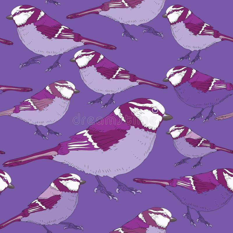 Ιώδες άνευ ραφής σχέδιο πουλιών Διανυσματική απεικόνιση στο υπόβαθρο lila διανυσματική απεικόνιση