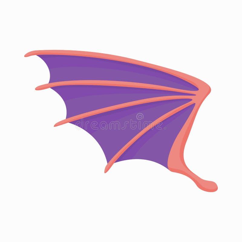 Ιώδες εικονίδιο φτερών δράκων, ύφος κινούμενων σχεδίων διανυσματική απεικόνιση