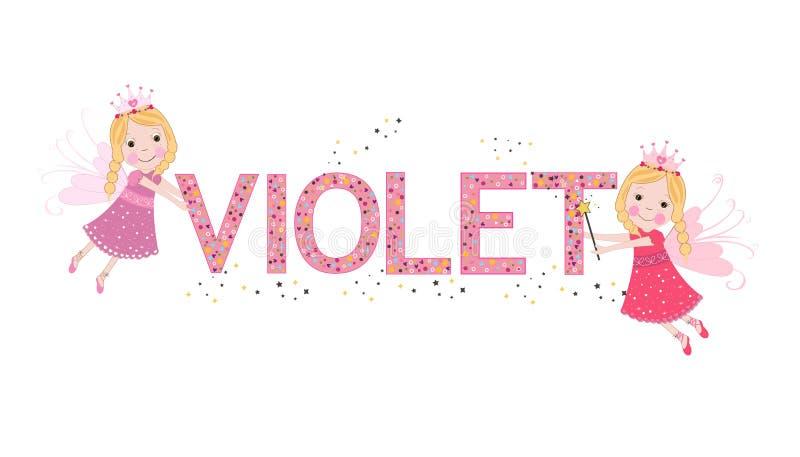 Ιώδες θηλυκό όνομα με το χαριτωμένο παραμύθι απεικόνιση αποθεμάτων