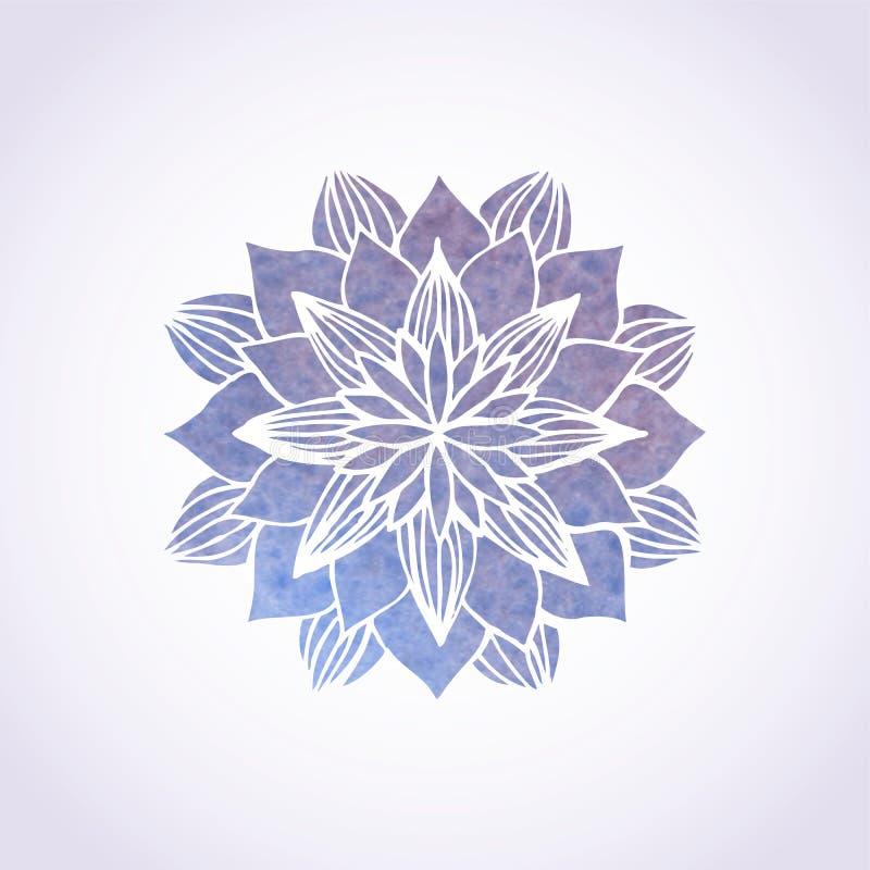 Ιώδες σχέδιο δαντελλών Watercolor Διανυσματικό στοιχείο mandala απεικόνιση αποθεμάτων