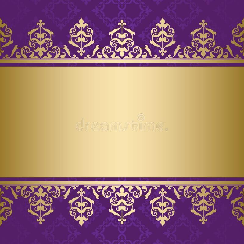 Ιώδες υπόβαθρο με τη χρυσή διακοσμητική διακόσμηση ελεύθερη απεικόνιση δικαιώματος