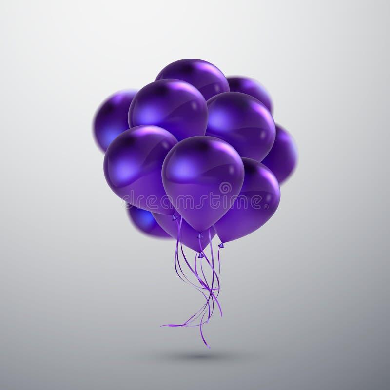 Ιώδης δέσμη μπαλονιών διανυσματική απεικόνιση