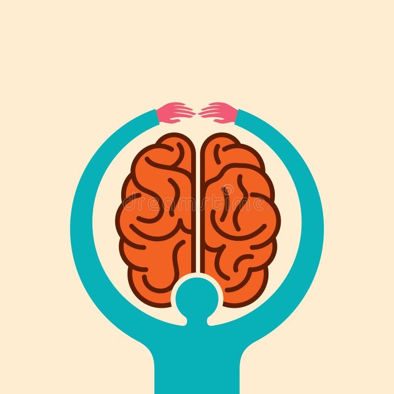 Ιδέα εγκεφάλου προσοχής με τα χέρια - απεικόνιση ελεύθερη απεικόνιση δικαιώματος