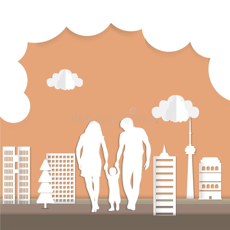 Ιδέα οικολογίας πόλεων Eco στην τέχνη εγγράφου διανυσματική απεικόνιση