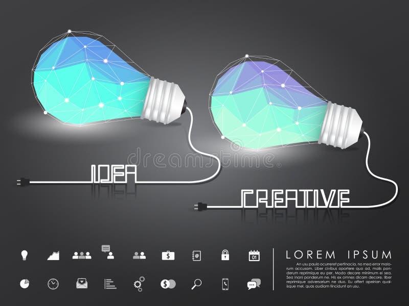 Ιδέα πολυγώνων και δημιουργική λάμπα φωτός με το επιχειρησιακό εικονίδιο ελεύθερη απεικόνιση δικαιώματος