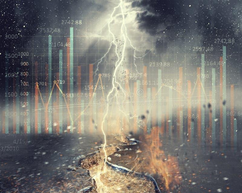 Ιδέα της καταστροφής και του κινδύνου Μικτά μέσα στοκ φωτογραφία