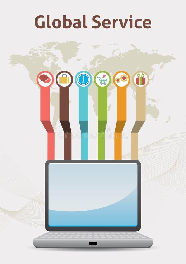 Ιδέα Infographic παγκόσμιας υπηρεσίας διανυσματική απεικόνιση