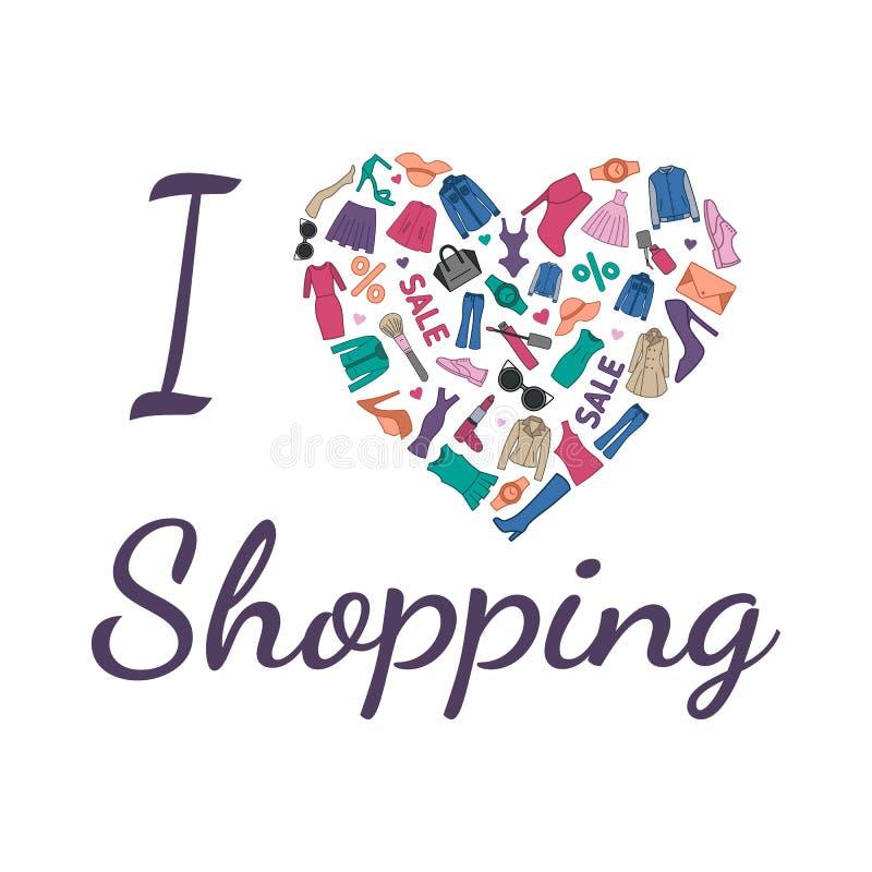 ι αγορές αγάπης απεικόνισ Η καρδιά αποτελείται από τα μοντέρνα ενδύματα, τα παπούτσια και τα εξαρτήματα διανυσματική απεικόνιση