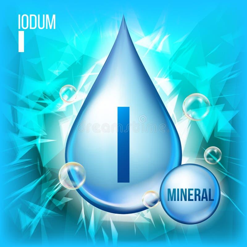 Ι διάνυσμα Iodum Ορυκτό μπλε εικονίδιο πτώσης Υγρό εικονίδιο καψών βιταμινών Ουσία για την ομορφιά, καλλυντικό, αγγελίες Promo ρε απεικόνιση αποθεμάτων