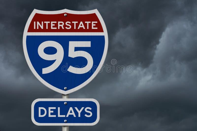 Ι-95 διακρατικό οδικό σημάδι ΑΜΕΡΙΚΑΝΙΚΩΝ εθνικών οδών καθυστερήσεων στοκ φωτογραφία