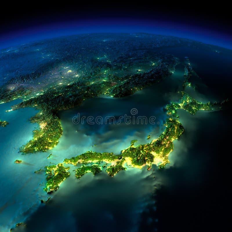 Γη νύχτας. Ένα κομμάτι της Ασίας - της Ιαπωνίας, Κορέα, Κίνα ελεύθερη απεικόνιση δικαιώματος
