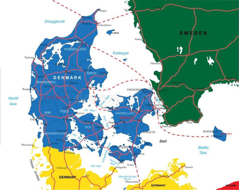 Χάρτης της Δανίας ελεύθερη απεικόνιση δικαιώματος