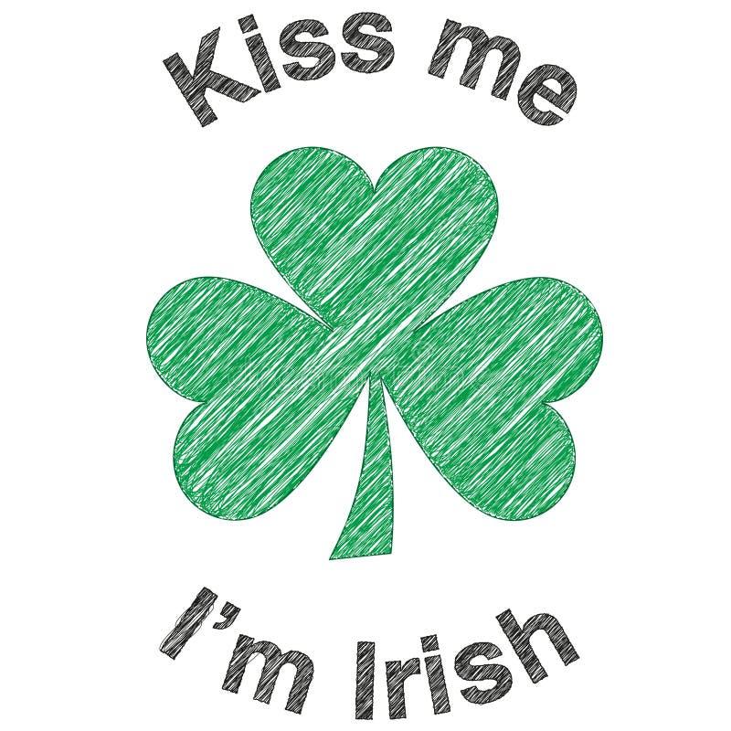 ι ιρλανδικά με φιλήστε τριφύλλι ελεύθερη απεικόνιση δικαιώματος