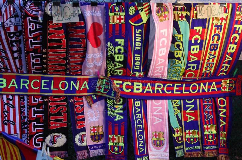 Ιδιότητες FC Βαρκελώνη Μαντίλι λεσχών ποδοσφαίρου στοκ φωτογραφία με δικαίωμα ελεύθερης χρήσης