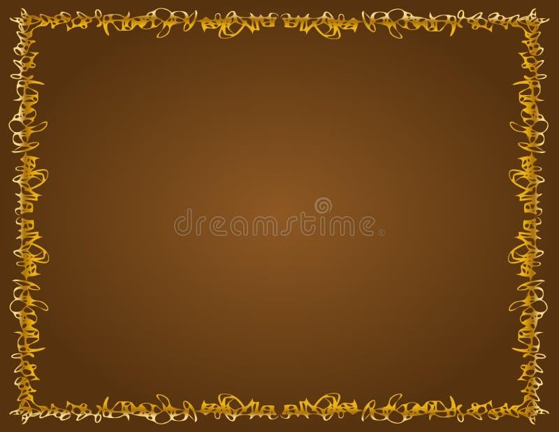 Ιδιότροπα χρυσά σύνορα, καφετί υπόβαθρο στοκ εικόνα