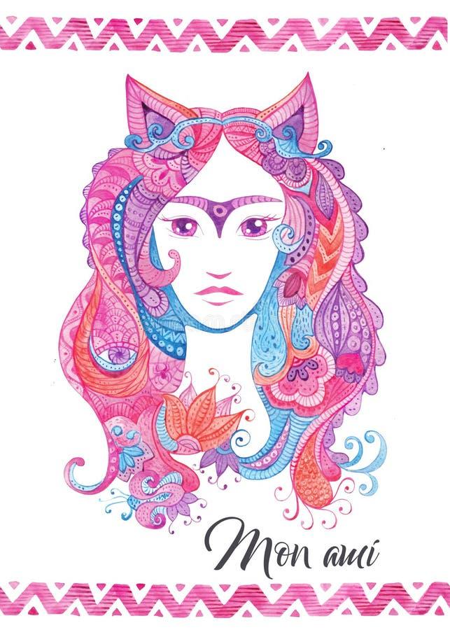 Ιδιότροπο συρμένο χέρι πρότυπο καρτών με το watercolor zentangles, θηλυκό πορτρέτο διανυσματική απεικόνιση