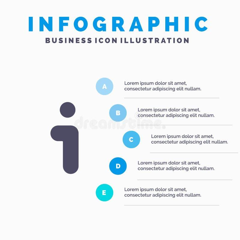 Ι, πληροφορίες, πληροφορίες, στερεό εικονίδιο Infographics 5 διεπαφών υπόβαθρο παρουσίασης βημάτων ελεύθερη απεικόνιση δικαιώματος