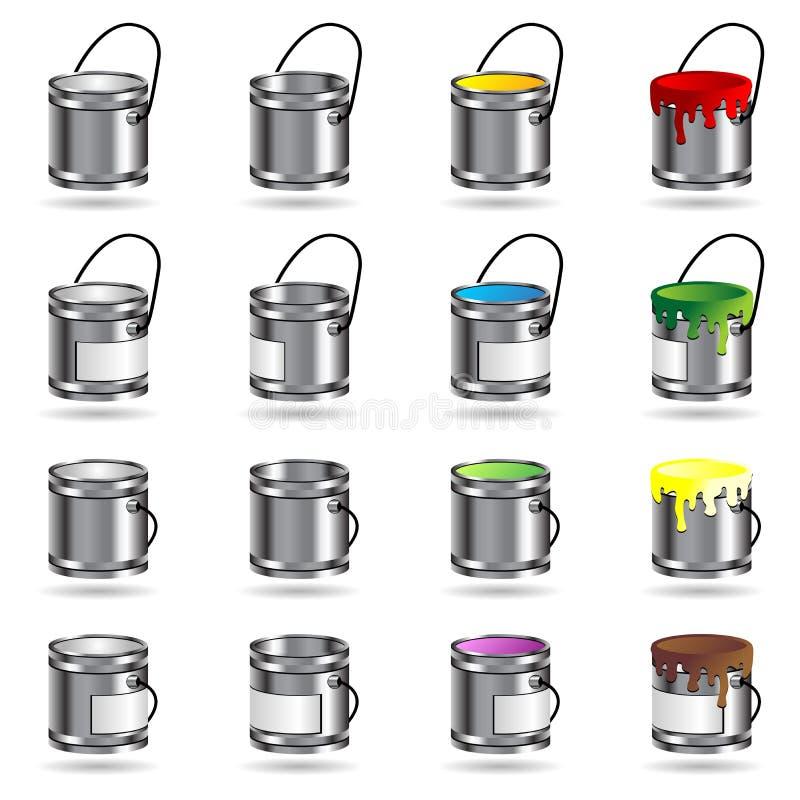 Κάδοι χρωμάτων ελεύθερη απεικόνιση δικαιώματος
