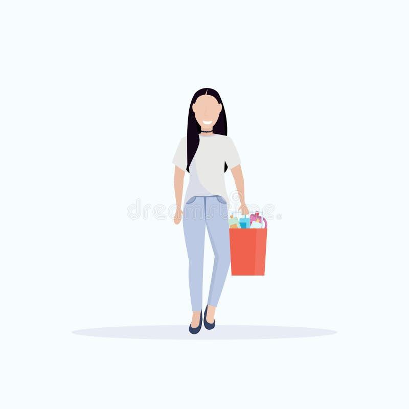Κάδος εκμετάλλευσης υπηρετριών γυναικών με janitor προμηθειών το θηλυκό καθαρότερο καθαρισμού υπηρεσιών λευκό μήκους έννοιας επίπ ελεύθερη απεικόνιση δικαιώματος