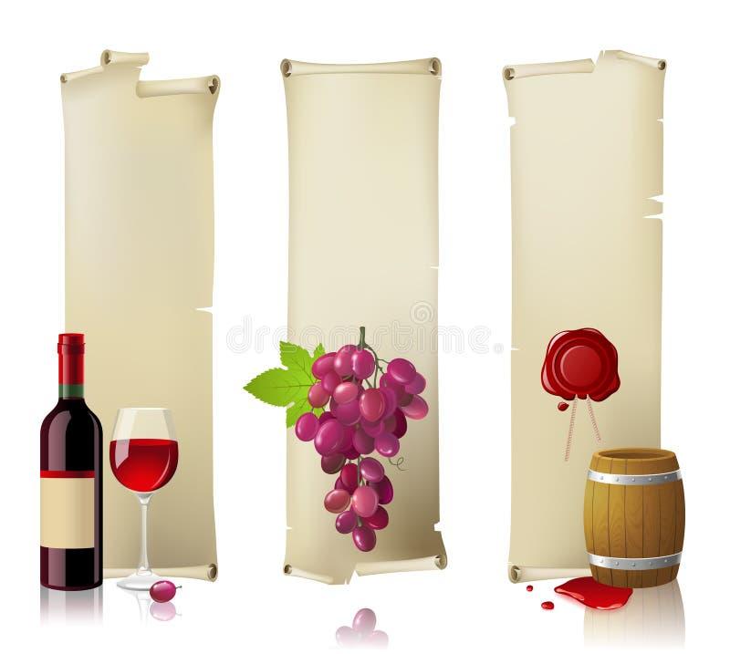 Εμβλήματα κρασιού ελεύθερη απεικόνιση δικαιώματος