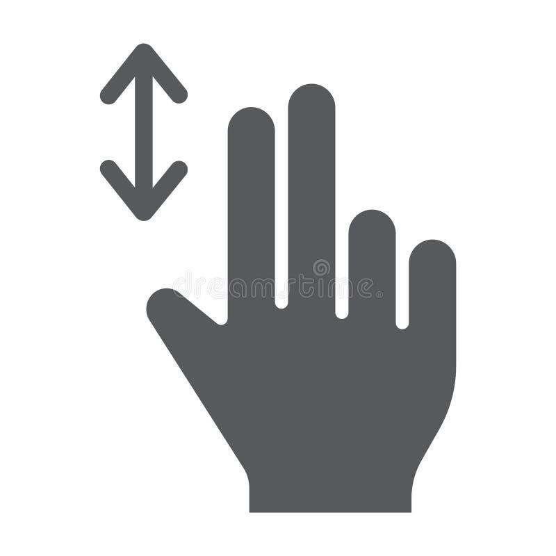 Κάθετα εικονίδιο κυλίνδρων δύο δάχτυλων glyph, χειρονομία και χέρι, σημάδι Τύπου, διανυσματική γραφική παράσταση, ένα στερεό σχέδ διανυσματική απεικόνιση