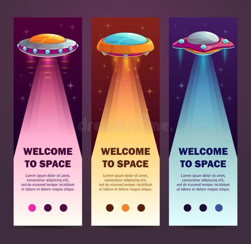 Κάθετα εμβλήματα UFO Σύνολο κάθετων μακριών προτύπων απεικόνιση αποθεμάτων