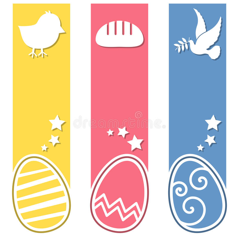 Κάθετα εμβλήματα αυγών Πάσχας αναδρομικά ελεύθερη απεικόνιση δικαιώματος