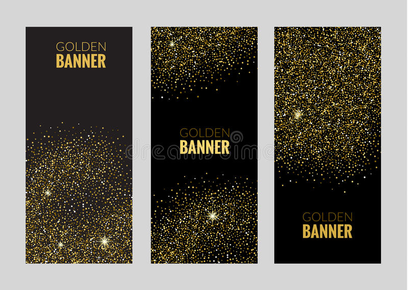Κάθετα μαύρα και χρυσά εμβλήματα καθορισμένα, σχέδιο ευχετήριων καρτών Χρυσή διανυσματική απεικόνιση σκόνης Πρότυπο πρόσκλησης αφ ελεύθερη απεικόνιση δικαιώματος