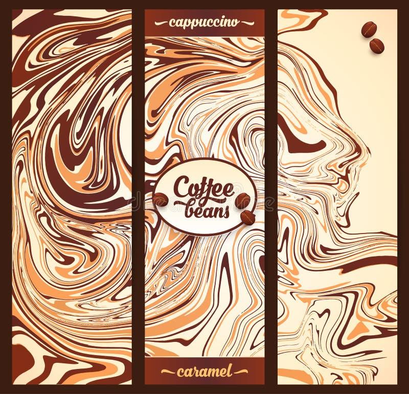 Κάθετα πρότυπα εμβλημάτων που τίθενται με το μαρμάρινο υπόβαθρο χρωμάτων καφέ cappuccino διανυσματική απεικόνιση