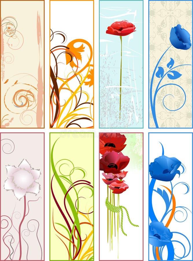 Κάθετα floral σελιδοδείκτες ή εμβλήματα διανυσματική απεικόνιση