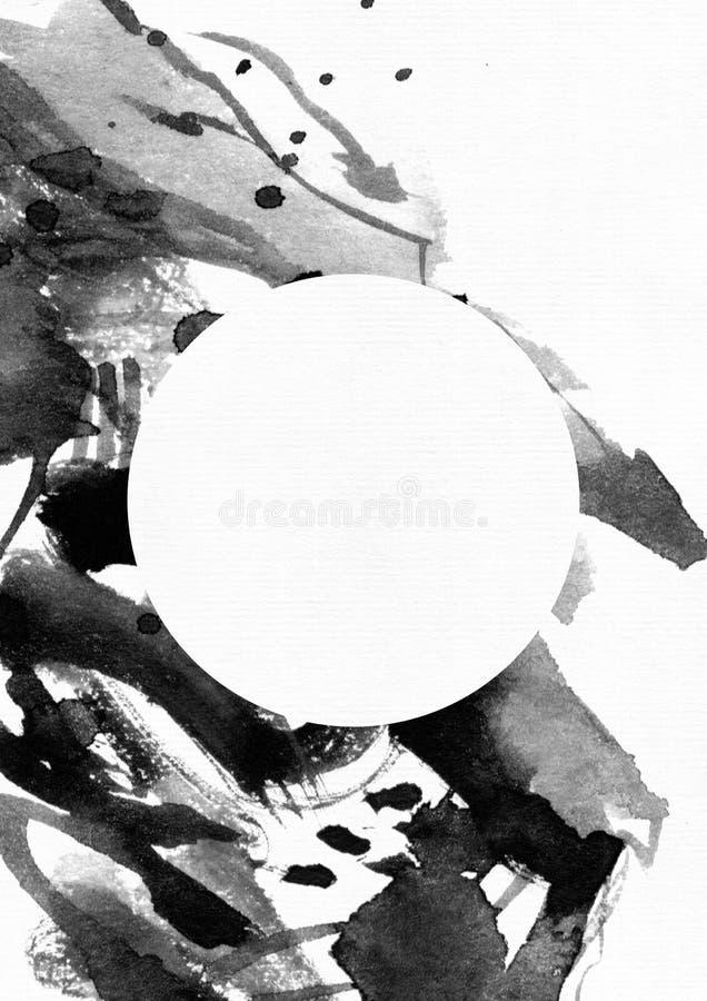Κάθετη απεικόνιση ράστερ σε άσπρο χαρτί watercolor Μαύροι υγροί παφλασμοί, επίχρισμα και κηλίδες μελανιού που διακοσμούνται με τι διανυσματική απεικόνιση