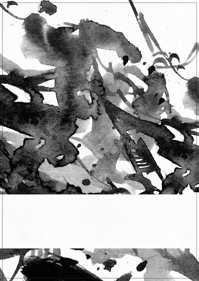 Κάθετη απεικόνιση ράστερ σε άσπρο χαρτί watercolor Μαύροι υγροί παφλασμοί, επίχρισμα και κηλίδες μελανιού που διακοσμούνται με τι ελεύθερη απεικόνιση δικαιώματος