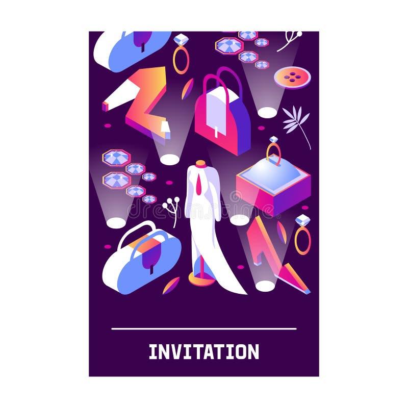 Κάθετη κάρτα με τα μοντέρνα isometric αντικείμενα μόδας για τη νέα γυναίκα  διανυσματική απεικόνιση