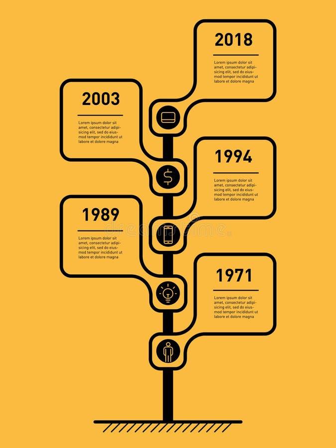 Κάθετη υπόδειξη ως προς το χρόνο Infographics Οδικό σημάδι ή δείκτης Το develo απεικόνιση αποθεμάτων