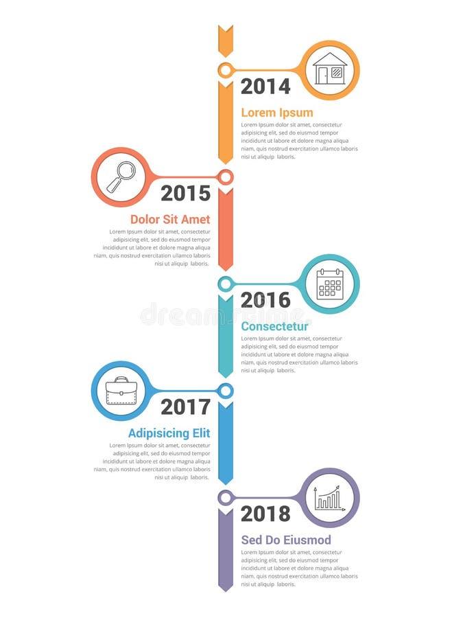 Κάθετη υπόδειξη ως προς το χρόνο Infographics ελεύθερη απεικόνιση δικαιώματος