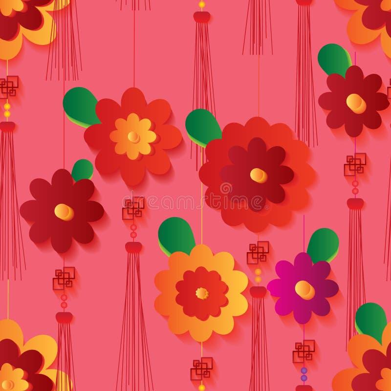 Κάθετο άνευ ραφής σχέδιο σχεδίου κόμβων λουλουδιών κινεζικό απεικόνιση αποθεμάτων