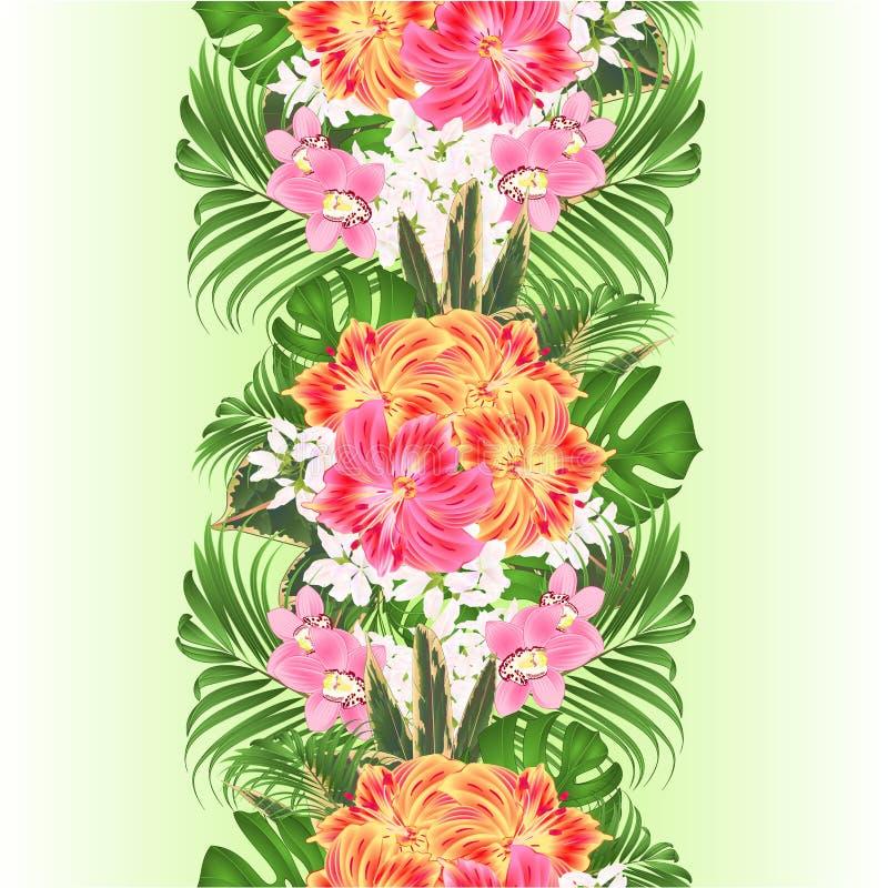 Κάθετο άνευ ραφής υπόβαθρο συνόρων με την τροπική floral ρύθμιση λουλουδιών, με τον όμορφο κίτρινο και ρόδινο κρίνο Alstroemeria ελεύθερη απεικόνιση δικαιώματος