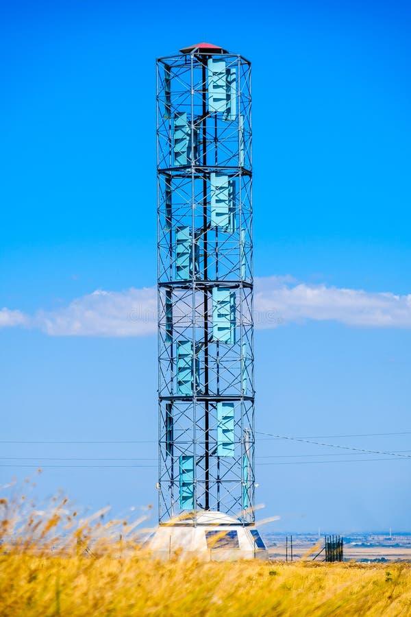 Κάθετο άξονα techno ενεργειακής ανανεώσιμης ενέργειας ανεμοστροβίλων eolic στοκ εικόνες με δικαίωμα ελεύθερης χρήσης