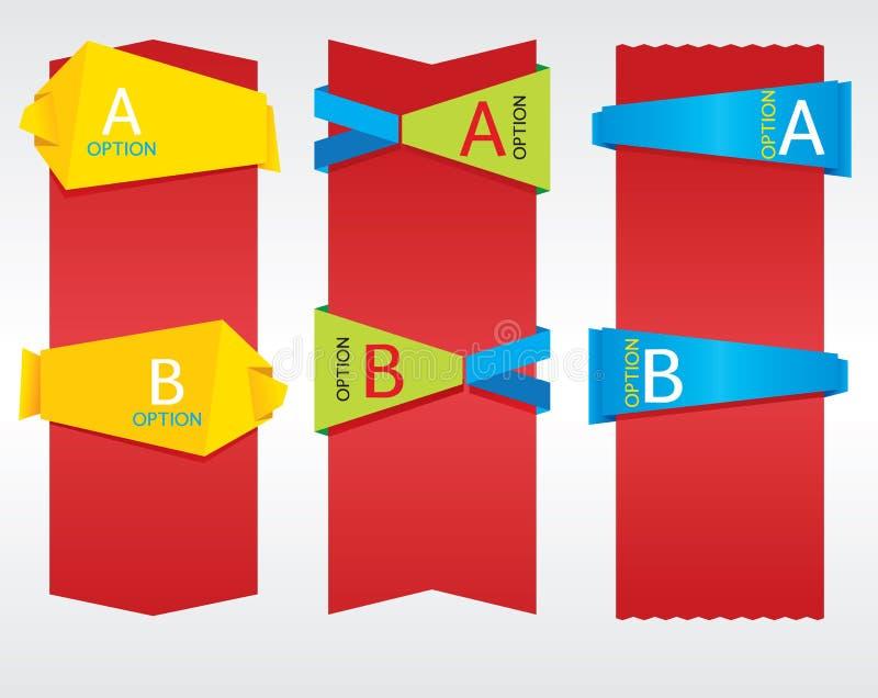 Κάθετο έμβλημα Origami. απεικόνιση αποθεμάτων