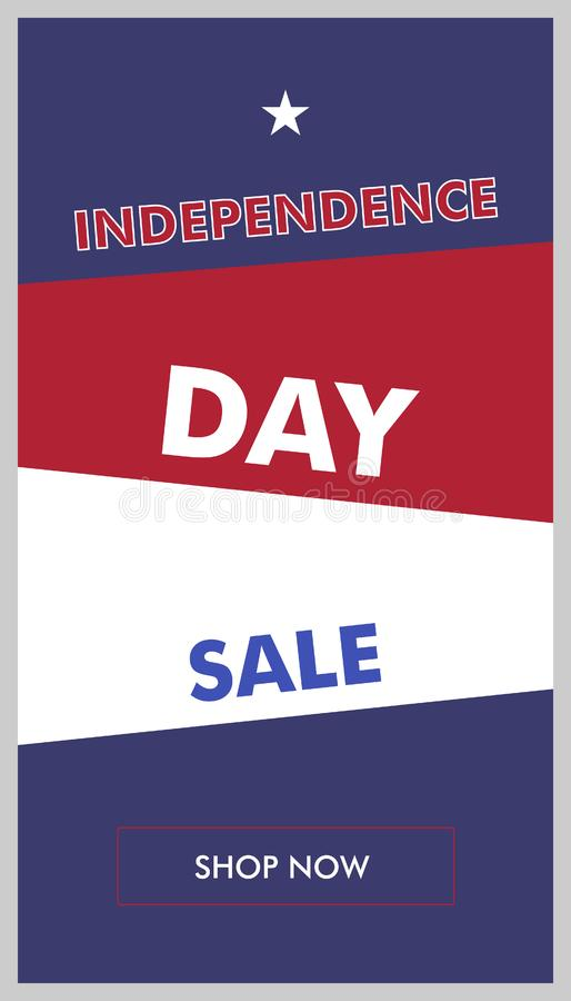 Κάθετο διανυσματικό έμβλημα χρώματος πώλησης ημέρας της ανεξαρτησίας ελεύθερη απεικόνιση δικαιώματος