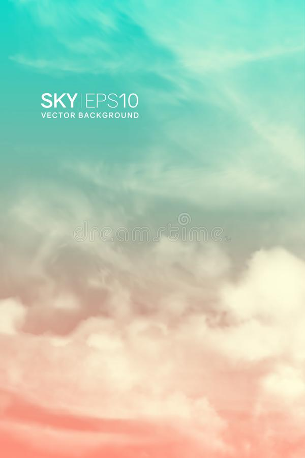 Κάθετο διανυσματικό υπόβαθρο με το ρεαλιστικούς ρόδινος-μπλε ουρανό και τα σύννεφα ελεύθερη απεικόνιση δικαιώματος