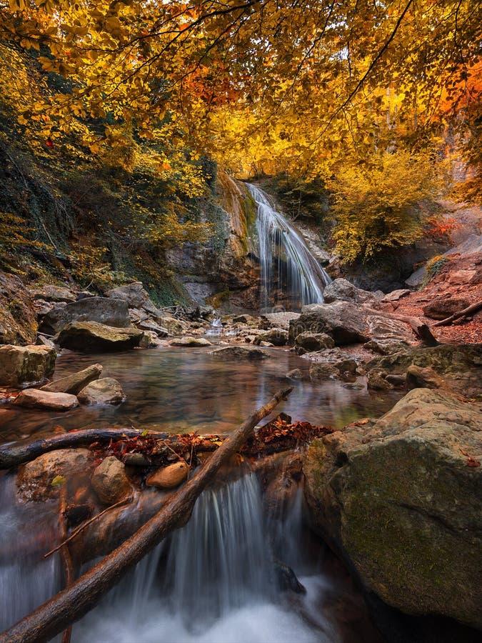 Κάθετο καταπληκτικό τοπίο με τον καταρράκτη και ζωηρόχρωμο τοπίο φθινοπώρου φθινοπώρου δασικό δασικό με τον όμορφο κρύο κολπίσκο  στοκ εικόνα
