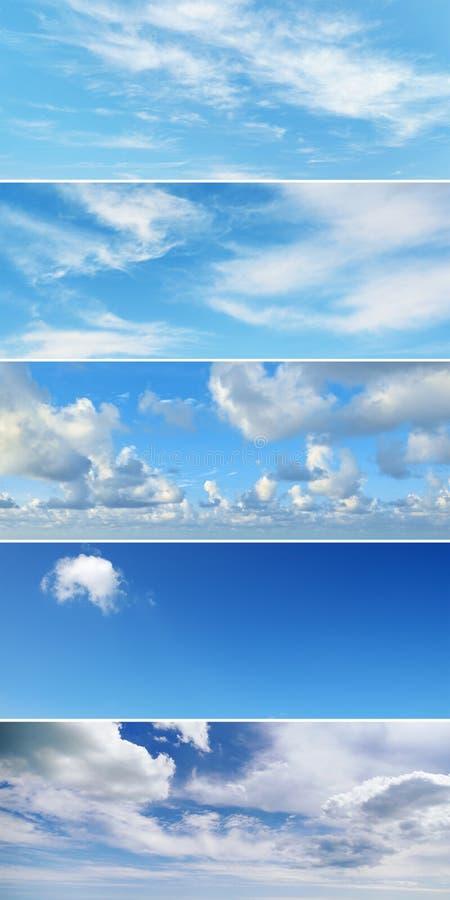 Κάθετο κολάζ με τα σύννεφα - σωρείτης, cirrus, βροχή, σαφής ουρανός στοκ εικόνα