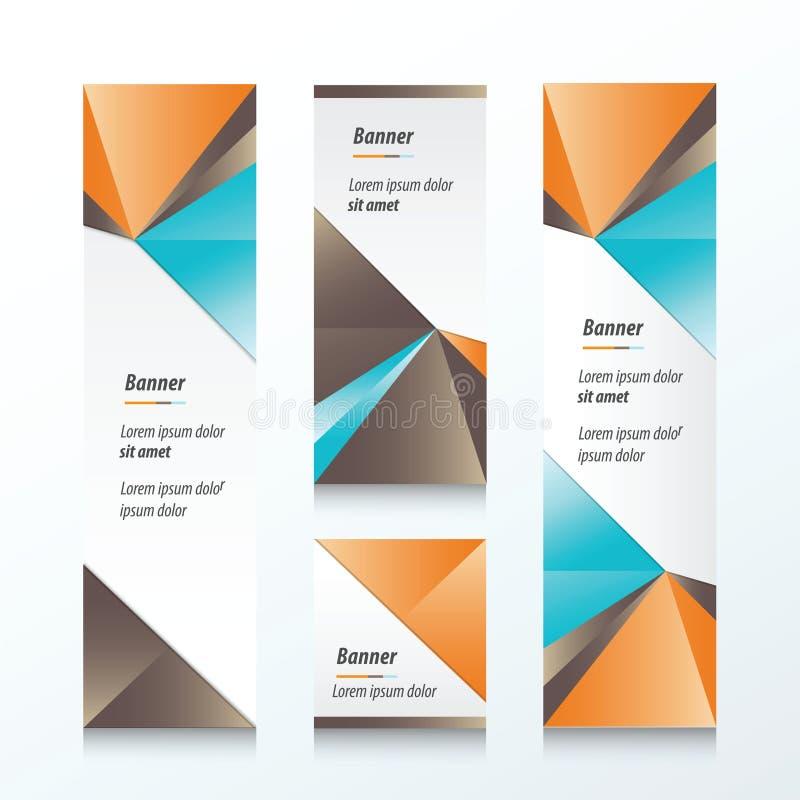 Κάθετο πορτοκάλι εμβλημάτων τριγώνων, μπλε, καφετί ελεύθερη απεικόνιση δικαιώματος