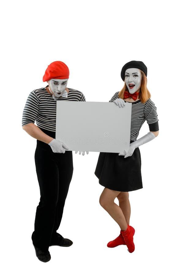 Κάθετο πορτρέτο των καλλιτεχνών mime στοκ εικόνες