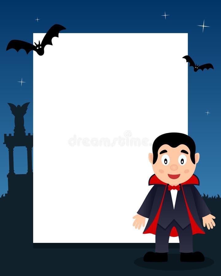 Κάθετο πλαίσιο αποκριών Dracula ευτυχές διανυσματική απεικόνιση